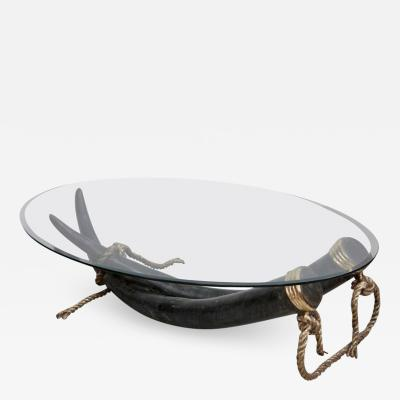 Italo Valenti 1 of 2 Huge Bronze and Brass Elephant Tusk Coffee Table by Italo Valenti