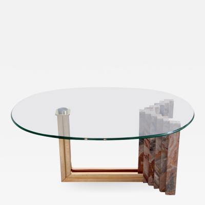 Italo Valenti Italian 1970s Marble and Brass Coffee Table Attributed to Italo Valenti