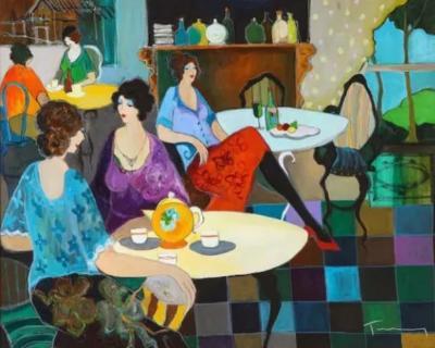 Itzchak Tarkay Israel 1935 2012 Afternoon Tea Oil on Canvas Painting