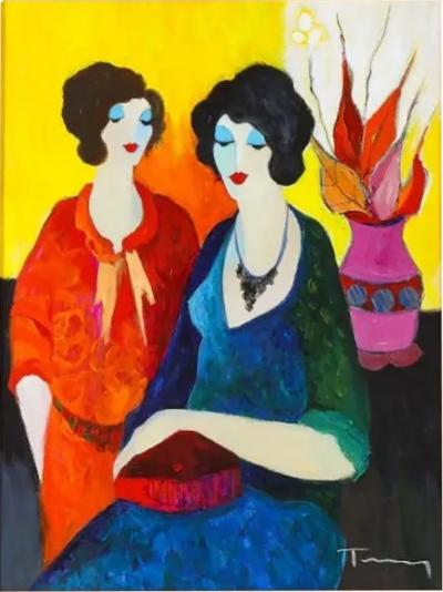 Itzchak Tarkay Israel 1935 2012 Two Sisters Oil on Canvas Painting