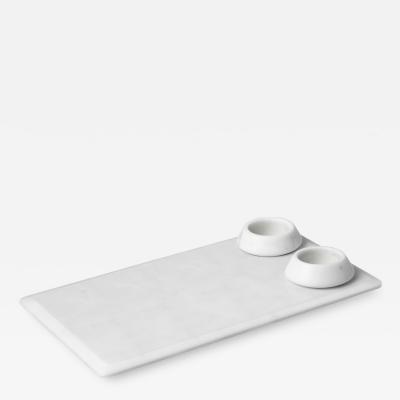 Ivan Colominas Symposia and Thera serving platter and bowls in white Michelangelo Marble