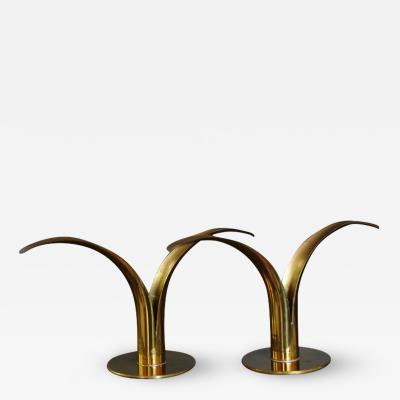 Ivar lenius Bj rk Liljan Brass Candleholders by Ivar lenius Bj rk for Ystad Metal Sweden