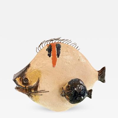 Ivo De Santis Mid Century Modern Italian Glazed Ceramic Fish Sculpture by Ivo De Santis