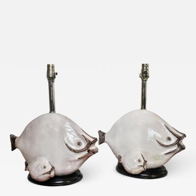 Ivo De Santis Pair of Italian Modern Glazed Ceramic Fish Lamps