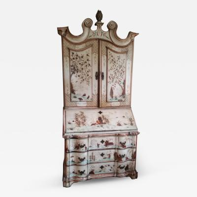 Ivory Coloured Chinoiserie Secretary Bookcase