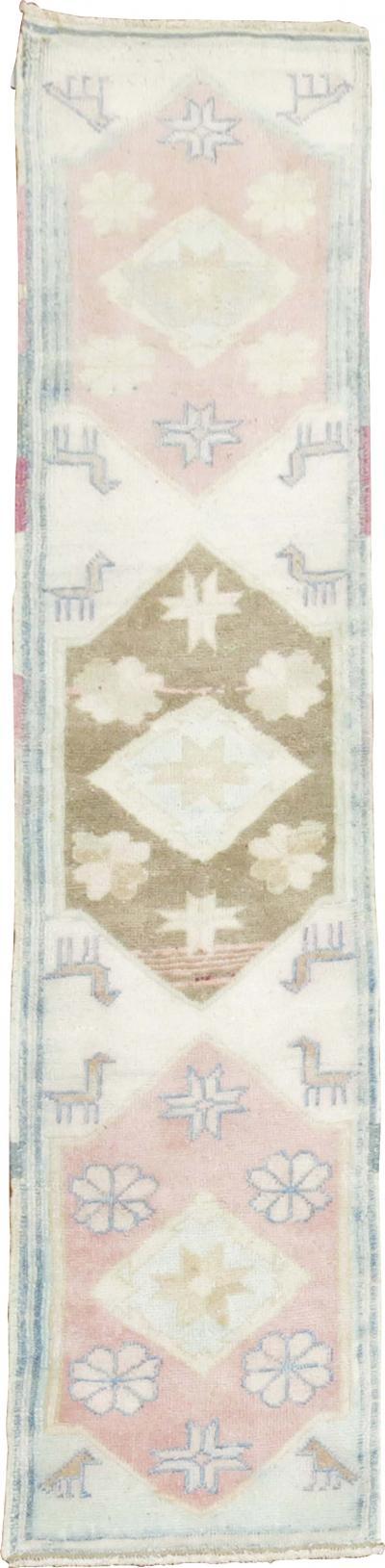 Ivory Pink Cotton Turkish RUnner rug no 31357