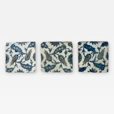 Iznik Pottery Tiles 17th Century Ottoman Turkey Set of Three