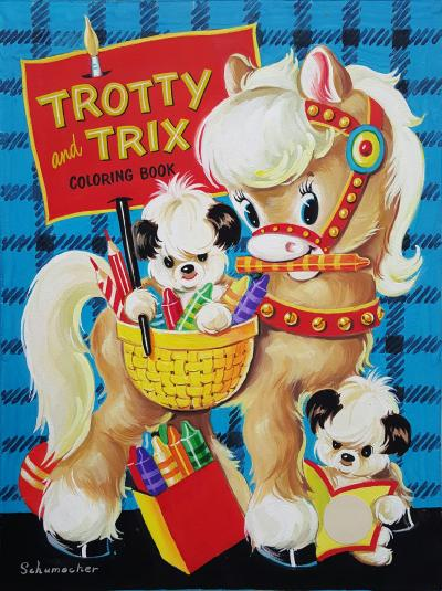 J A Schumacher Trotty And Trix Coloring Book Cover Art