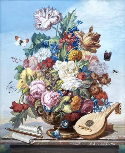 J Friedrich Jungling Floral Bouquet with Mandolin