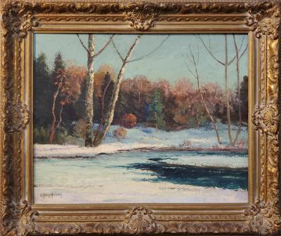 J H Hallberg Landscape Oil Painting of an Early Snowfall in Woodstock NY by J Henry Hallberg
