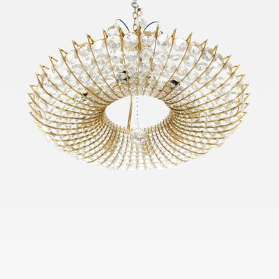 J L Lobmeyr Brass and Glass Chandelier In The Style of Lobmeyr