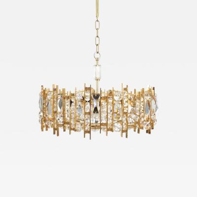 J L Lobmeyr Gilt Brass And Crystal Glass Chandelier By Lobmeyr