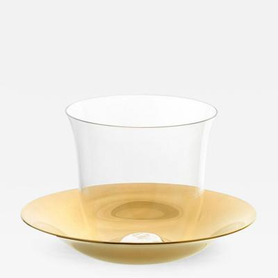 J L Lobmeyr Lily Crystal Mocca Espresso Cup with Gilded Brass Saucer by KIM HEEP