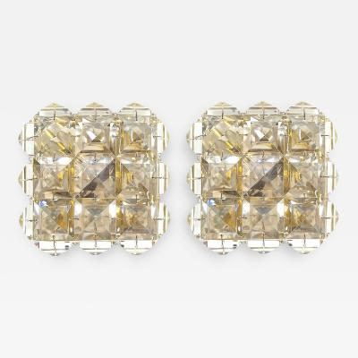 J L Lobmeyr Pair of Crystal Glass And Brass Sconces