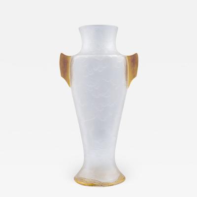 J L Lobmeyr Rudolf Marschall Lobmeyr Sezessionist Vase Eisglas Gilt ca 1901
