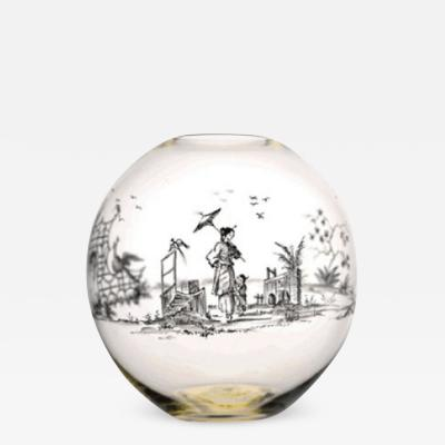 J L Lobmeyr VASE BV60 WITH CHINOISERIE PAINTINGS