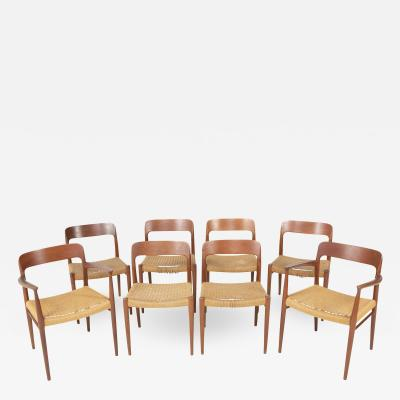 J L M llers M belfabrik Set Of Eight Danish Cord Seat Dining Chairs