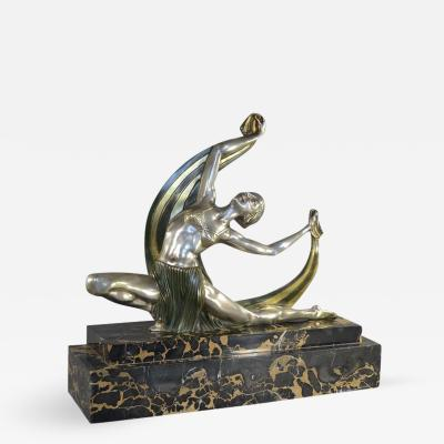 J Lormier French Art Deco Bronze Dancer with Veil 1930s