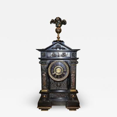 J Marti et Cie 19th Century French Slate Bronze Clock by Marti