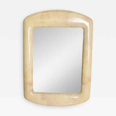 J Robert Scott J Robert Scott Cushion Frame Mirror in Almond Goatskin Karl Springer Era 1970s