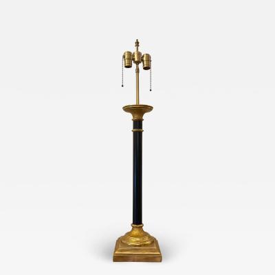 J Robert Scott J Robert Scott Neoclassical Black Gold Column Giltwood Lamp