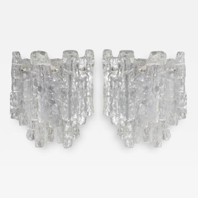 J T Kalmar Grand Kalmar Ice Glass Sconces on Nickel Tone Backplates Two Pairs Available