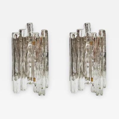 J T Kalmar Important Set of J T Kalmar Glass Wall Sconces with Brass Details