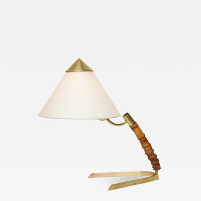 J T Kalmar Kalmar Table Lamp Mid Century Modern Bamboo Brass Austria 1950s