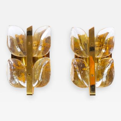 J T Kalmar One Out of Three Leaf Glass and Brass Sconces by J T Kalmar