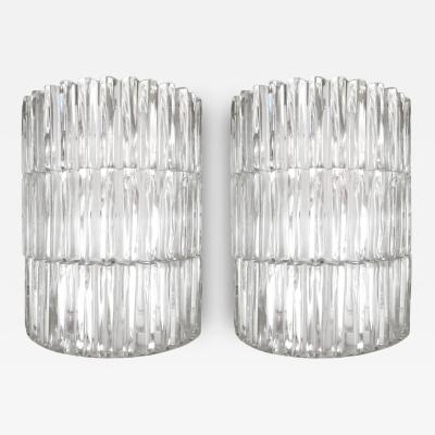 J T Kalmar Pair of J T Kalmar Fluted Glass Sconces