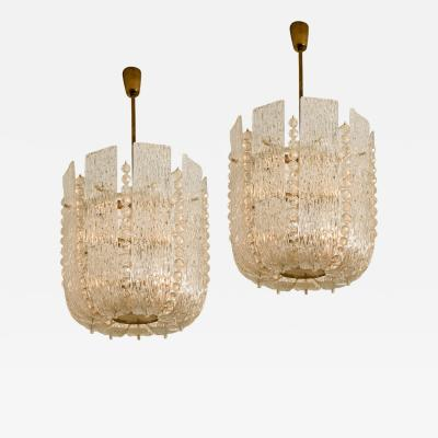 J T Kalmar Pair of J T Kalmar Glass and Brass Basket Chandeliers Austria 1950