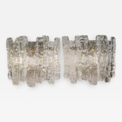 J T Kalmar Pair of Kalmar Ice Glass Wall Sconces Three Pairs Available