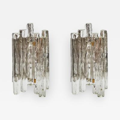 J T Kalmar Set of J T Kalmar Glass Wall Sconces with Brass Details