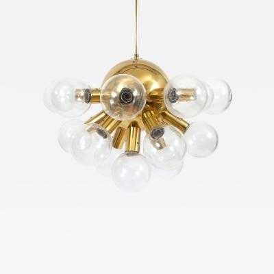 J T Kalmar Sputnik Globe Glass and Brass Chandelier by J T Kalmar