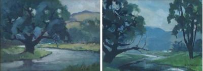 J T Winslow Gouache on paper two serene landscape paintings by J T Winslow