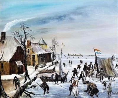 J Van Buiksloot Dutch Ice Skating Oil on Canvas by Van Buiksloot