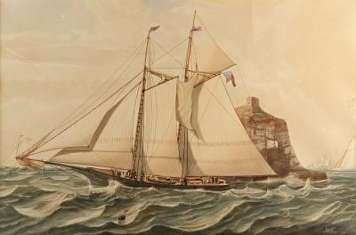 J W Pierce A Fine Original Maritime Watercolor of Scale J W Pierce 1869