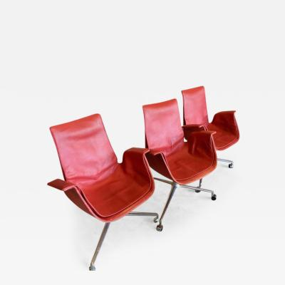 J rgen Kastholm Preben Fabricius Rare Red Fabricius Tulip Desk Chair with Three Legged Base