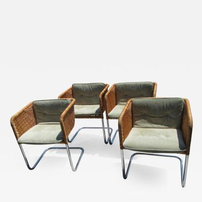 J rgen Kastholm Preben Fabricius Set of 4 Chrome and Wicker Chairs by Fabricius Kastholm
