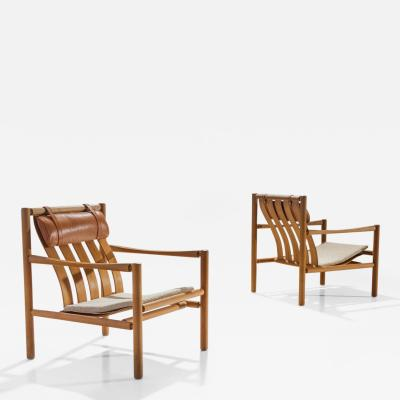 J rgen Nilsson Pair of Handmade Oak Lounge Chairs by J rgen Nilsson Denmark 1964