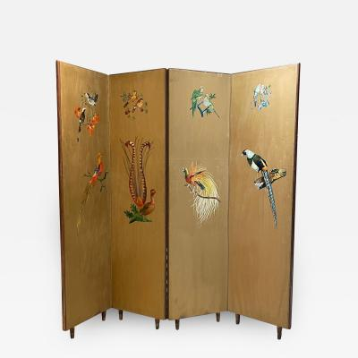JAPANESE Glamour Room Divider Two Side Screen Gold Leaf Hand Paint Mahogany