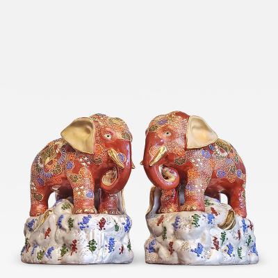 JAPANESE KUTANI SATSUMA MORIAGE ELEPHANT BOOKENDS