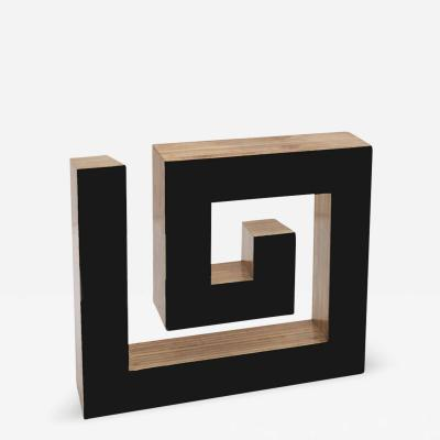 JOSECHO L PEZ LLORENS Josecho L pez Llorens Geometric Black Lacquered Pine Wood Spiral 11008 Sculpture