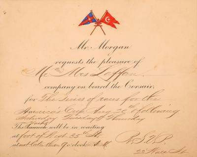 JP Morgan Invitation to Observe the 1903 Americas Cup from Corsair