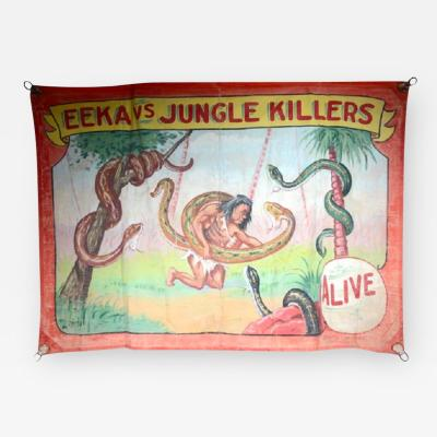 JUNGLE KILLERS 1940S CIRCUS BANNER