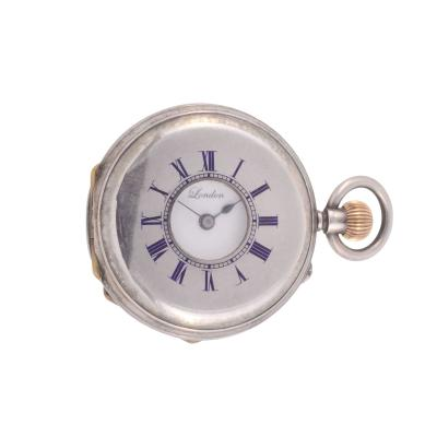 JW Benson Half Hunter Sterling Silver Ladies Pocket Watch