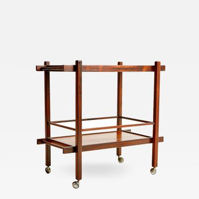 Jacaranda Rosewood Brazilian Bar Cart with Removable Tray