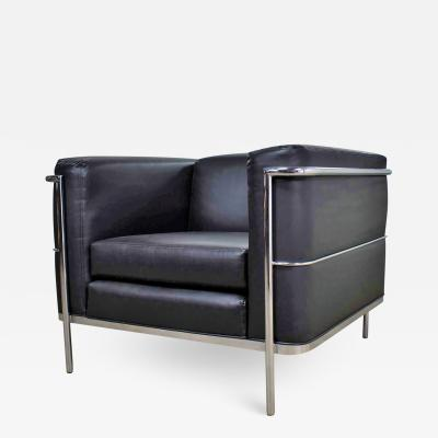 Jack Cartwright Jack cartwright 20 123 club chair in black faux leather after corbusier lc2