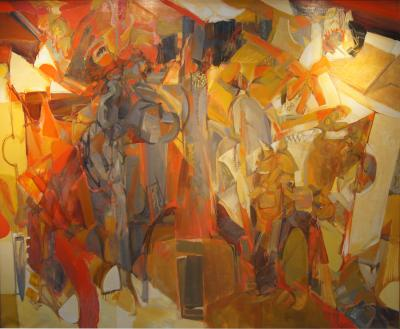 Jack D Wolfe Large Chorus Oil Painting by Jack Wolfe 1959