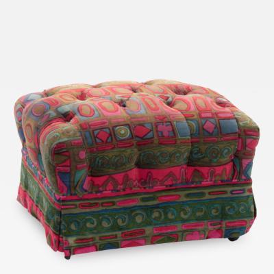 Jack Lenor Larsen Chic Tufted Ottoman with Jack Lenor Larson Fabric